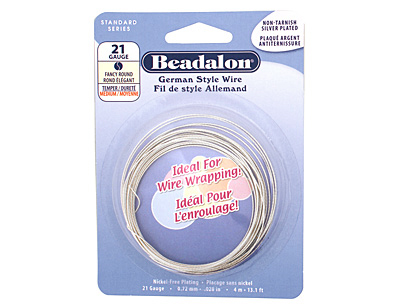 German Style Wire Silver (plated) Fancy Round 21 gauge, 4 meters