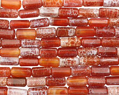 Fire Agate 6-Sided Tube 20x9-10mm