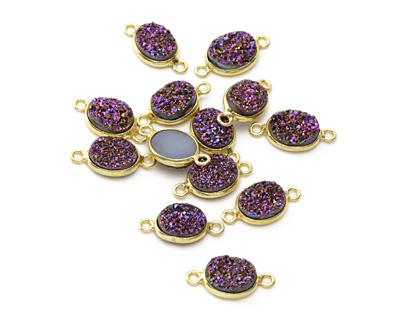 Druzy (metallic purple) Oval Link in Gold Vermeil 17x9mm