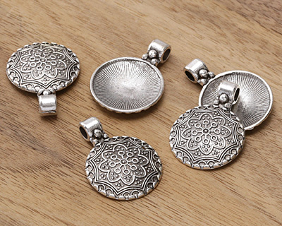 Antique Silver (plated) Floral Window Dome Pendant 24x34mm