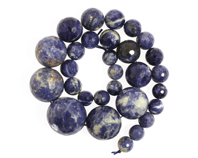 Bolivian Sodalite Faceted Round Graduated 12-28mm