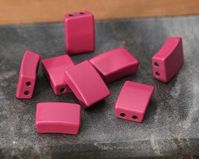 Berry Enamel 2-Hole Tile Rectangle Bead 12x8mm
