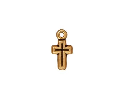 TierraCast Antique Gold (plated) Beaded Cross Charm 7x15mm