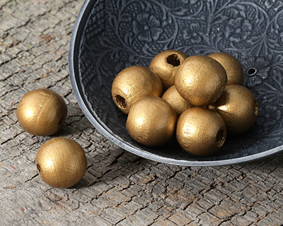 Metallic Gold Wood Round 14mm