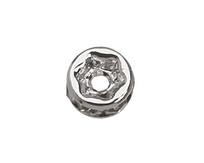 Silver (plated) Crystal Rhinestone Rondelle 4mm