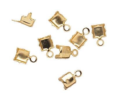 Gold (plated) 4mm Rhinestone Chain End Connector