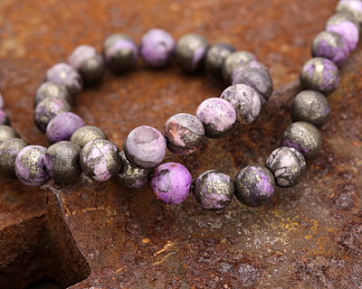 Golden Pyrite w/ Purple Quartz Round 8mm