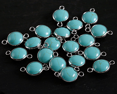 Turquoise (syn.) Coin Focal Link w/ Silver Finish 21x13mm