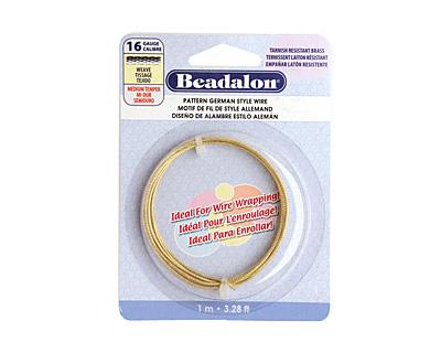German Style Wire Non Tarnish Brass Weave Pattern Round 16 gauge, 1 meter