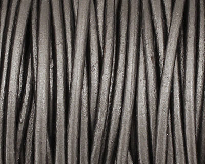 Grey Round Leather Cord 2mm