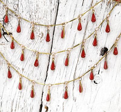 Zola Elements Brass Bar Chain w/ Red Teardrops