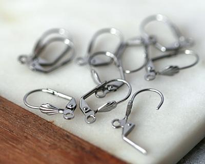 Stainless Steel Leverback Shell Earring w/ Open Loop 10x18mm
