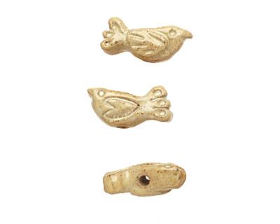 Gaea Ceramic Pearl on Tan Folksy Bird 10-11x23-25mm