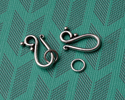 Antique Silver Finish Dewdrop Hook & Eye Clasp 20x13mm, 7mm Ring