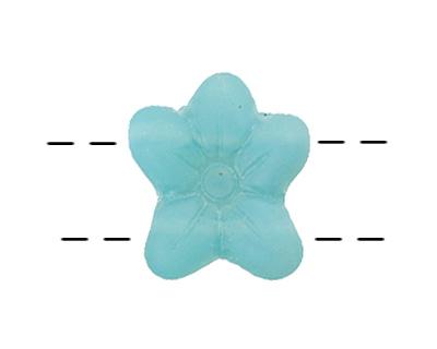 Czech Glass Aquamarine 2-Hole Flower 11x13mm
