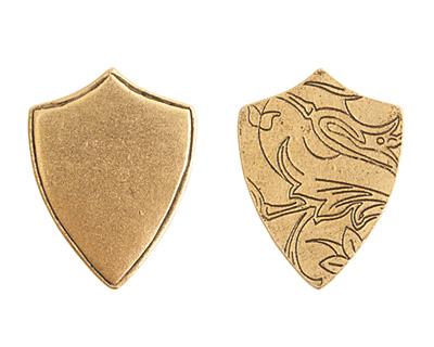 Nunn Design Antique Gold (plated) Crest Shield Tag 18x23mm