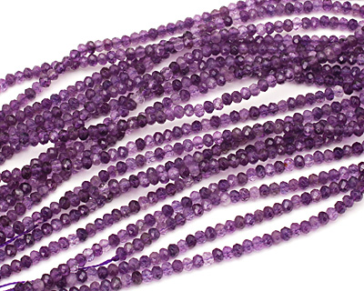 Amethyst (A) Faceted Rondelle 3x4-5mm
