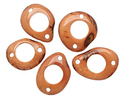 Tagua Nut Caramel Open Slice Link 40-48x32-40mm