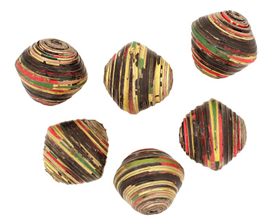 African Paper (black, yellow, red) Bicone 24-25x26-27mm