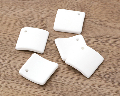 Opaque White Recycled Glass Curved Diamond Square Pendant 18mm
