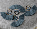 Peacock Fanned Tassel on Tortoise Shell Acetate Ring 70x45mm