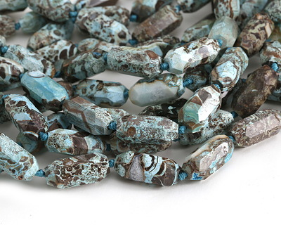 Turquoise Orbicular Jasper Faceted Barrel 28-33x13-15mm