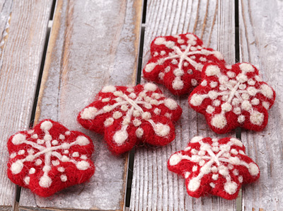 Red Felt Snowflake 45mm