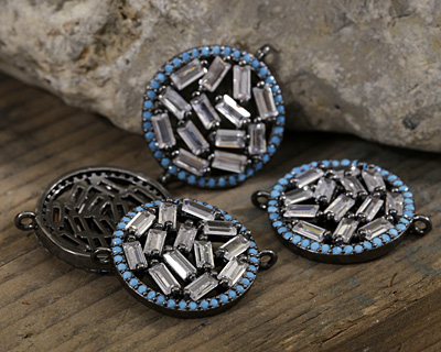 Vintage Style Sky Pave CZ Gunmetal (plated) Coin Focal Link 24x22mm
