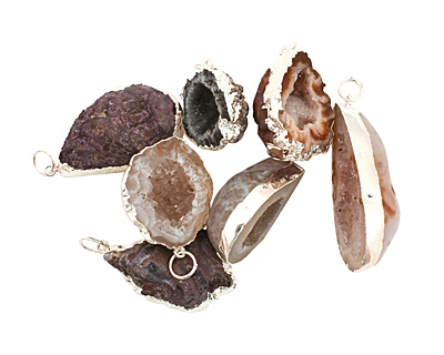 Oco Geode Pendant Set in Silver (plated) 20-27x33-45mm