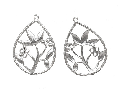 Ezel Findings Rhodium (plated) Lotus Drop 22x31mm