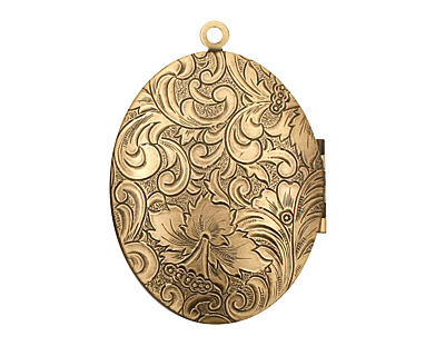 Antique Brass (plated) Oval Garden Heirloom Locket 33x47mm