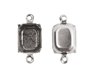 Nunn Design Antique Silver (plated) Octagon Prong Setting 17x9mm