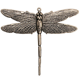 Stampt Antique Pewter (plated) Emperor Dragonfly Pendant 50x43mm