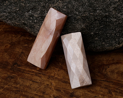 Natural Peach Moonstone Faceted Rectangular Shape Beads 25-32mm 8 Strand