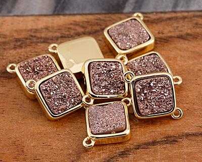 Metallic Bronze Crystal Druzy Diamond Link in Gold Finish Bezel 16x12mm