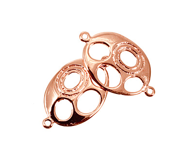 Copper (plated) Oval Link w/ Oval Cutouts 31x18mm