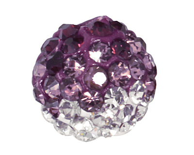 Amethyst/Crystal Ombre Pave Round 8mm