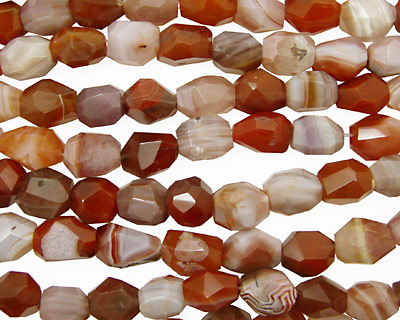 Red & Gray Botswana Agate Faceted Nugget 14-20x12-14mm
