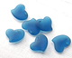 Peacock Blue Recycled Glass Puffed Sweeping Heart Pendant 19x18mm