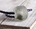 African Recycled Glass Storm Gray Tumbled Rondelle 19-24x23-26mm