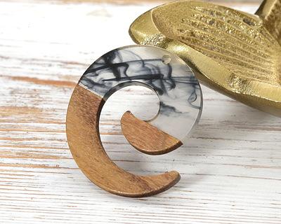 Walnut Wood & Jet & Clear Inky Resin Koru Focal 36x37mm