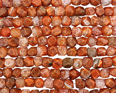 Fire Agate Faceted Nugget 10-12x10-14mm
