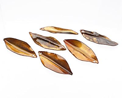 C-Koop Enameled Metal Egg Yellow/Clear Pointed Leaf 15-20x40-45mm