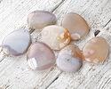 Natural Pink Agate (light) Flat Teardrop Pendant 37-45x47-54mm