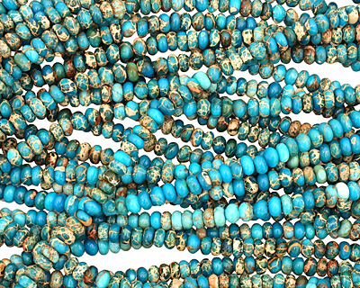 Ocean Blue Impression Jasper Rondelle 3x6mm
