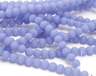 Opaque Sky Blue Recycled Glass Round 8mm