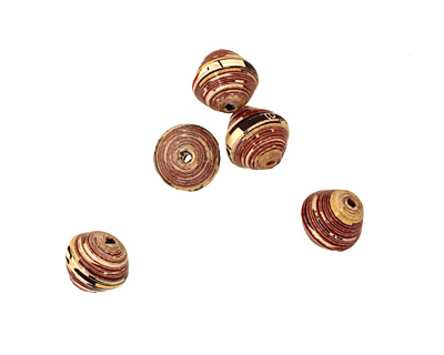 African Paper (red, chocolate, mustard) Bicone 12x13mm