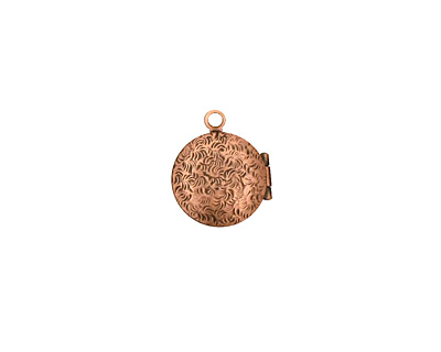 Antique Copper (plated) Small Round Ribbon Heirloom Locket 13x15mm