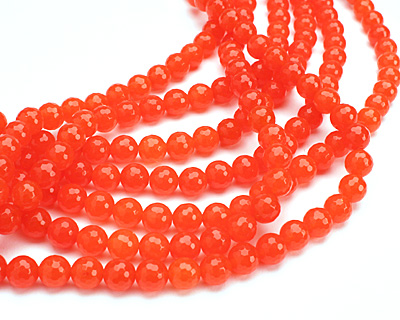 Neon Orange Colorful Jade Faceted Round 10mm