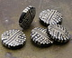 A Beaded Gift Silvered Jet Tribal Stripe Glass Large Focal 31-33mm